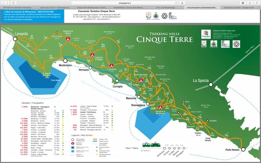 Karte Cinque Terre