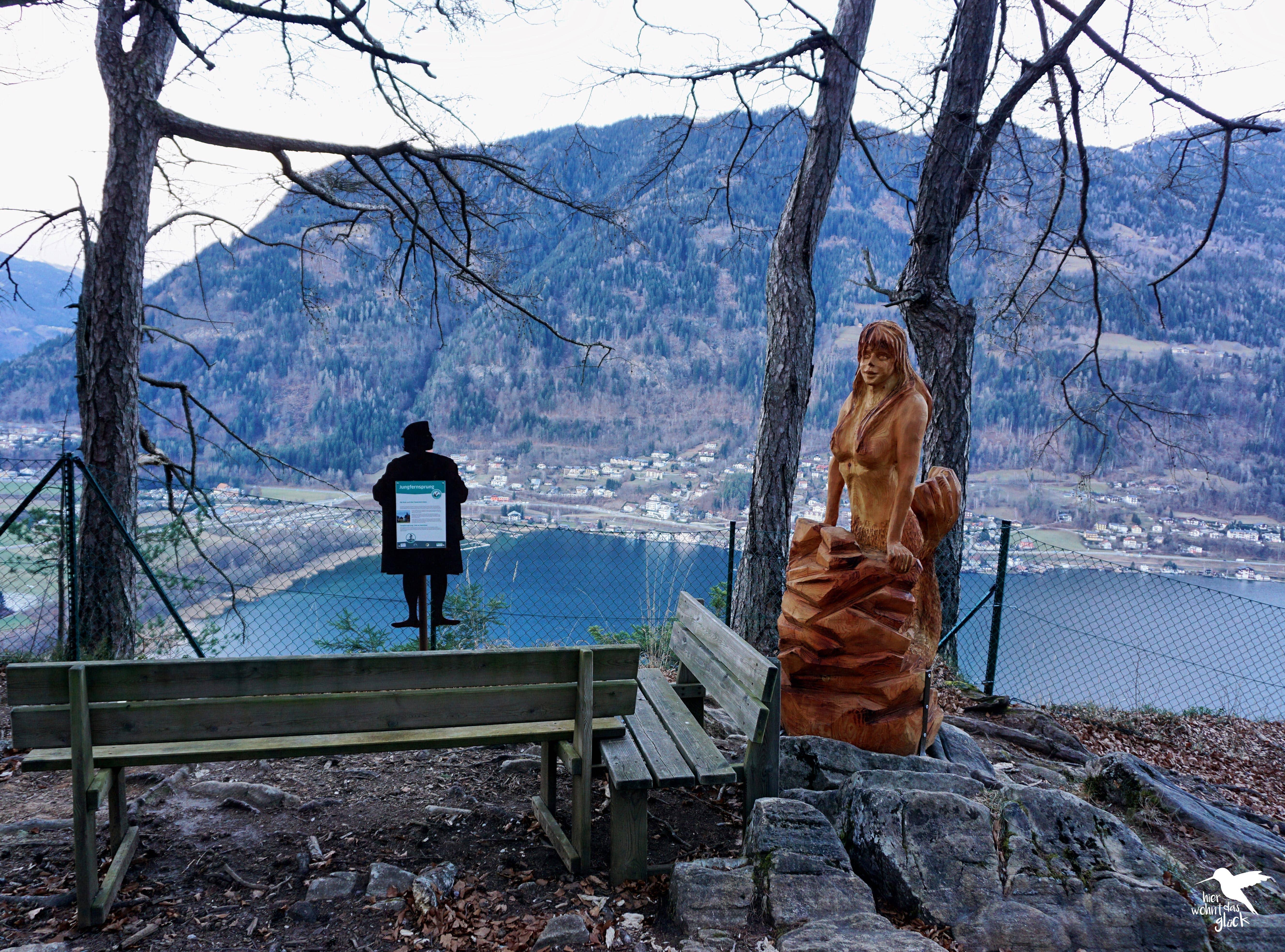 Der Jungfernsprung mit Aussicht auf den Ossiacher See