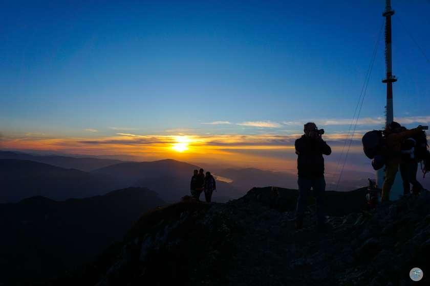 Sonnenaufgang am Dobratsch 2166m in Kärnten in der Nähe von Villach